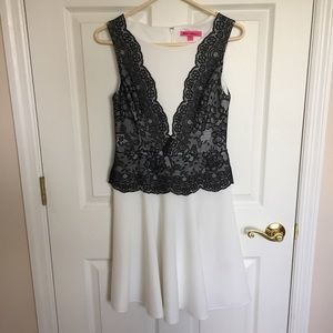 A-Line White Dress with Black Lace Detail
